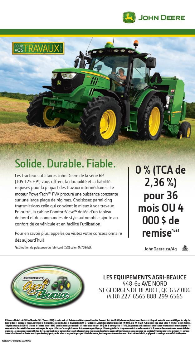 solude durable fiable s rie 6r les quipements agri beauce john deere st georges. Black Bedroom Furniture Sets. Home Design Ideas
